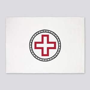 Circled Red Cross 5'x7'Area Rug