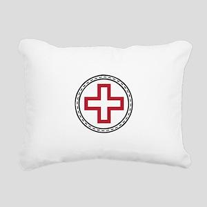 Circled Red Cross Rectangular Canvas Pillow