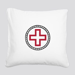 Circled Red Cross Square Canvas Pillow