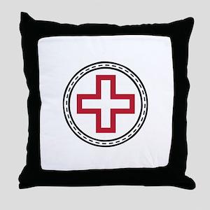 Circled Red Cross Throw Pillow