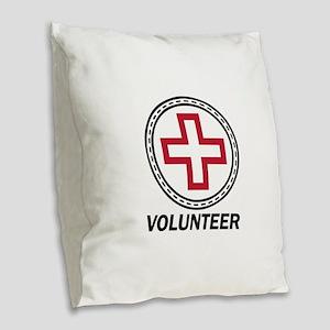 Volunteer Red Cross Burlap Throw Pillow