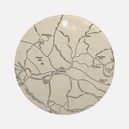 Vintage Mount Monadnock Trail Map ( Round Ornament
