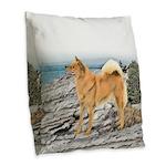 Finnish Spitz Burlap Throw Pillow