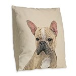 French Bulldog (Sable) Burlap Throw Pillow