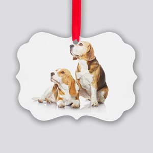 Two beagle dogs isolated on white Picture Ornament