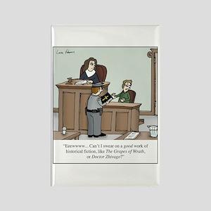 Atheist swearing on bible Rectangle Magnet