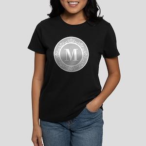 Gray | White Swirls Monogram Women's Dark T-Shirt