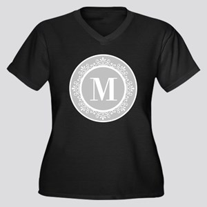 Gray | White Women's Plus Size V-Neck Dark T-Shirt