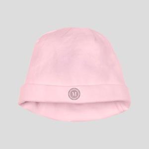 Gray | White Swirls Monogram baby hat