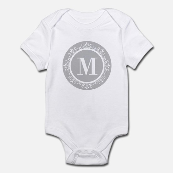 Gray | White Swirls Monogram Infant Bodysuit