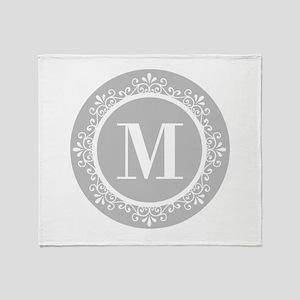 Gray   White Swirls Monogram Throw Blanket