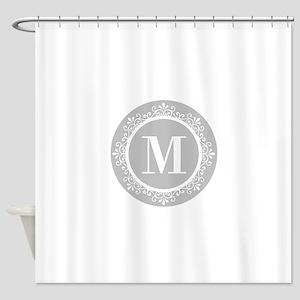 Gray   White Swirls Monogram Shower Curtain