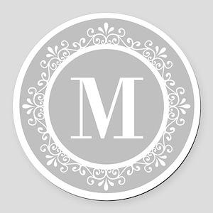 Gray   White Swirls Monogram Round Car Magnet