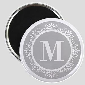 Gray | White Swirls Monogram Magnet