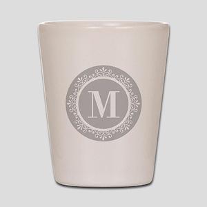 Gray | White Swirls Monogram Shot Glass