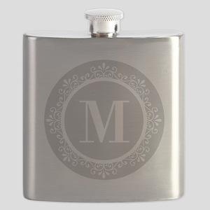 Gray | White Swirls Monogram Flask