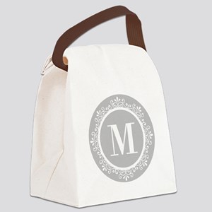 Gray | White Swirls Monogram Canvas Lunch Bag