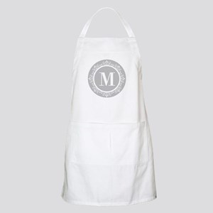 Gray | White Swirls Monogram Apron