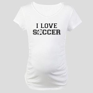 I Love Soccer Maternity T-Shirt