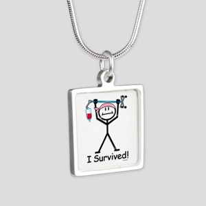 Breast Cancer Survivor Silver Square Necklace