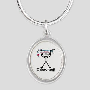 Breast Cancer Survivor Silver Oval Necklace