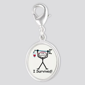Breast Cancer Survivor Silver Oval Charm