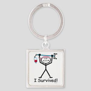 Breast Cancer Survivor Square Keychain