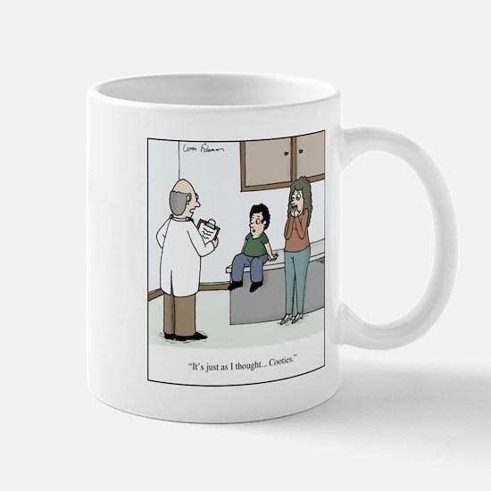 Doctor diagnosis kid with cootie Mug