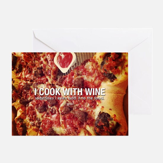 I Cook With Wine Funny Photo Quote Greeting Card