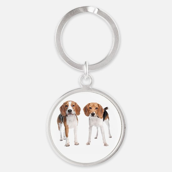 Two Beagle Dogs Round Keychain