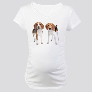 Two Beagle Dogs Maternity T-Shirt