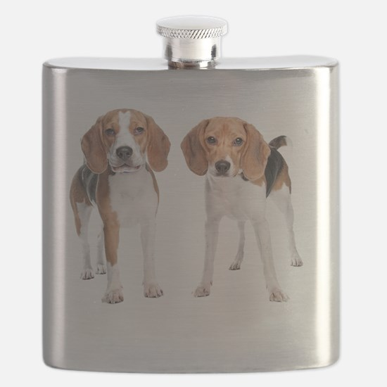 Two Beagle Dogs Flask