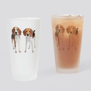 Two Beagle Dogs Drinking Glass