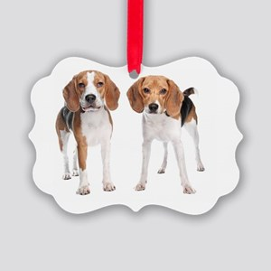 Two Beagle Dogs Picture Ornament