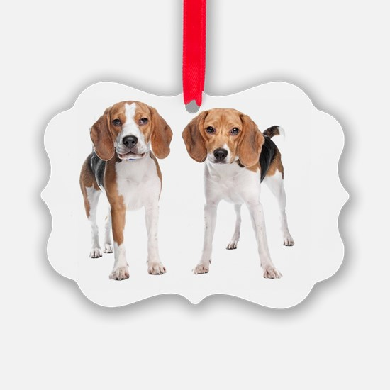 Two Beagle Dogs Ornament