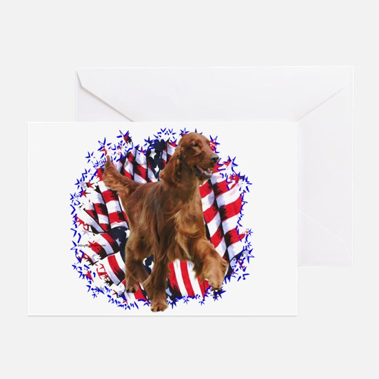Irish Setter Patriotic Greeting Cards (Package of