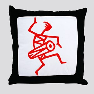 Drumming Petroglyph Throw Pillow