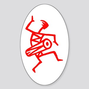 Drumming Petroglyph Oval Sticker
