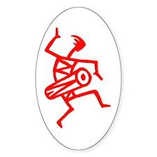Drumming Petroglyph Oval Sticker