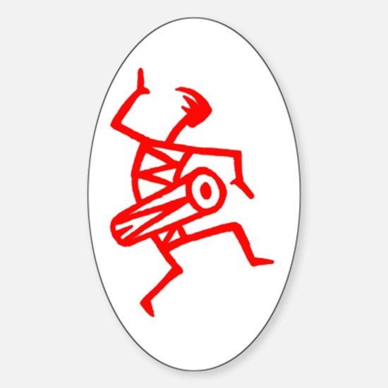 Drumming Petroglyph Oval Decal