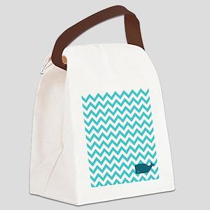 Aqua Whale Chevron SHOAFF Canvas Lunch Bag