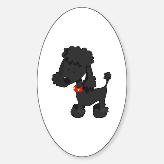 Poodle Black Sticker (Oval)