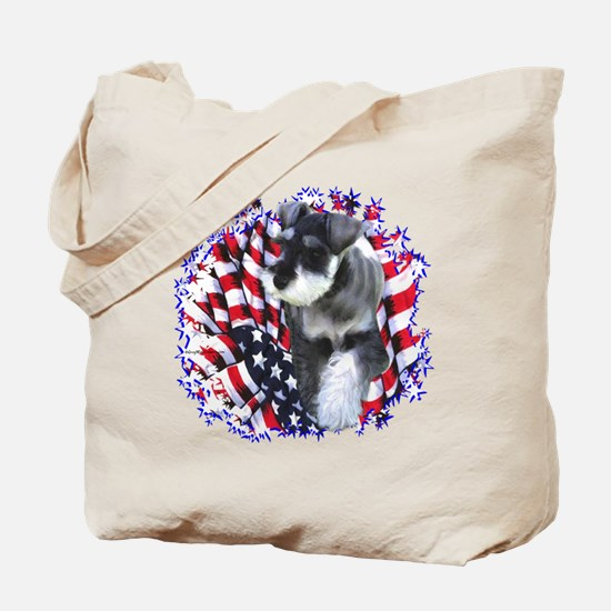 Mini Schnauzer Patriotic Tote Bag