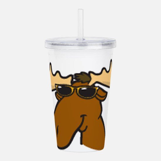 moose with sunglasses Acrylic Double-wall Tumbler