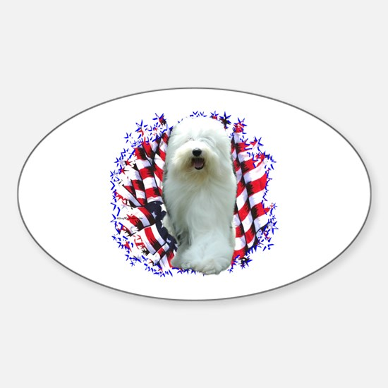 Old English Patriotic Oval Decal
