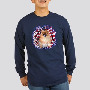 Pomeranian Patriotic Long Sleeve Dark T-Shirt