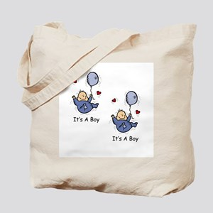It's a Boy Twin Baby Boy Announcement Design Tote