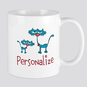 Personalizable. Blue Cats Mug