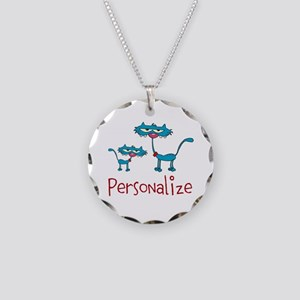 Personalizable. Blue Cats Necklace Circle Charm