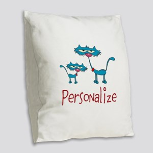 Personalizable. Blue Cats Burlap Throw Pillow